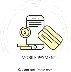 smartphone, nfc, mobile, pièces, -, sans fil, crédit, paiement, carte, icône