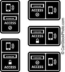 smartphone, nfc, symbol, dostęp, czarnoskóry, poduszeczka