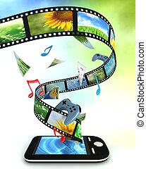 smartphone, noha, fénykép, video, zene, és, játékok