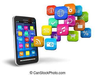smartphone, noha, felhő, közül, alkalmazás, ikonok