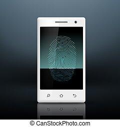 smartphone, noha, ujjlenyomat, képben látható, a, ellenző