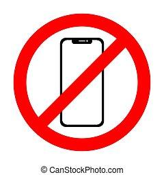 smartphone, non, signe., téléphone portable, vecteur, icône