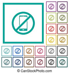 Smartphone not allowed flat color icons with quadrant frames...
