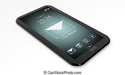 smartphone, notificación, pantalla, aislado, 1, nuevo, mensaje, blanco