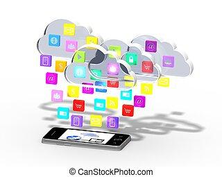 smartphone, nuage, applicatio