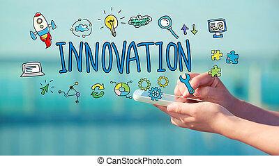 smartphone, nyskapande, begrepp