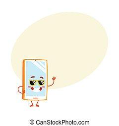 smartphone, occhiali da sole, mobile, carattere, impaurito, telefono, cartone animato