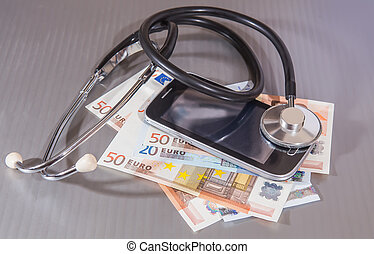 smartphone of of euro and stethoscope