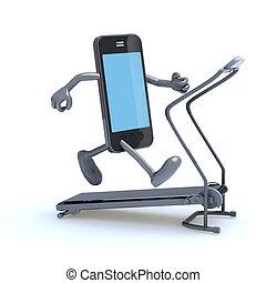 smartphone on a running machine