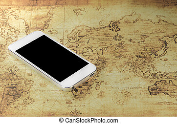 An image of a ball with world map on a map stock photography smartphone on a world map gumiabroncs Images