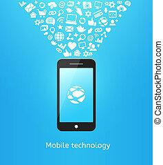 Smartphone on blue