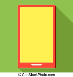 Smartphone on green background, vector icon