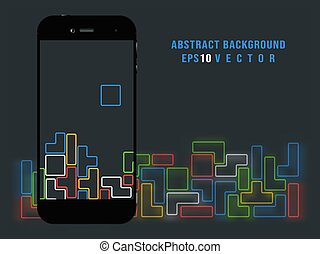 Smartphone on old video game background