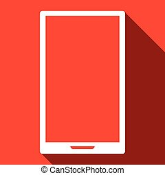 Smartphone on red background, vector icon