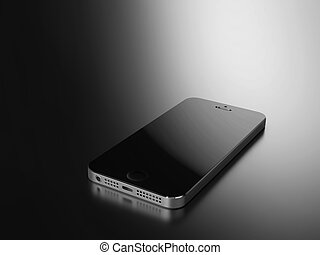 Smartphone on the black desk with reflection
