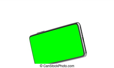 Smartphone on white background - Smartphone with green ...