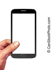 smartphone on white with path