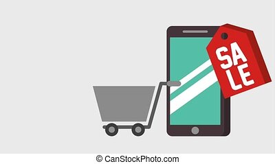 smartphone online sale shopping cart animation
