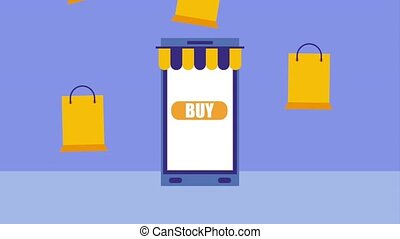 smartphone online shopping buy bags icon vector ilustration