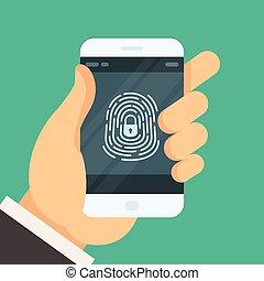 smartphone, ontsloten, beweeglijk, knoop, -, telefoon, vingerafdruk, wachtwoord, machtiging
