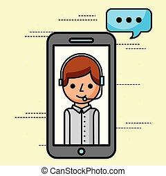 smartphone operator talking support customer service