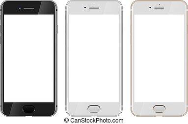 smartphone, or, écran, moderne, vide, devant, noir, blanc, vue