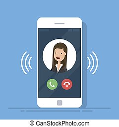 Smartphone or mobile phone call or vibrate with contact info on display, ring of phone icon. Flat cartoon cellphone ringing. Vector illustration.