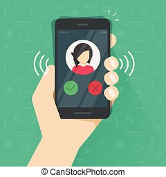 Smartphone or mobile phone ringing or calling vector illustration, flat cartoon black cellphone call or vibrate with contact info on display in hand, ring of phone icon clipart