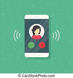 Smartphone or mobile phone ringing vector illustration, flat cartoon cellphone call or vibrate with contact info on display, ring of phone icon isolated clipart