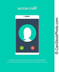 Smartphone or mobile phone ringing vector illustration, flat cartoon cellphone call