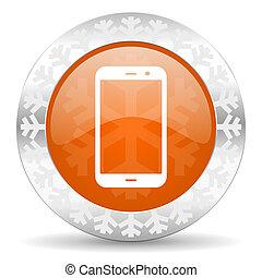 smartphone orange icon, christmas button, phone sign