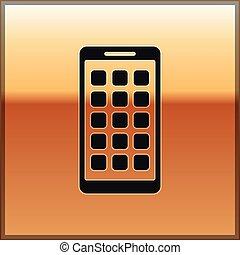 smartphone, oro, fondo., mobile, apps, schermo, icone, isolato, illustrazione, screen., telefono, vettore, nero, applications., esposizione, icona