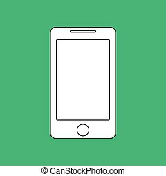 Smartphone Outline vector icon. Imitation draw with white chalk on green chalkboard. Flat Pictogram and School board background. Illustration symbol
