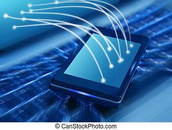 smartphone, på, laptop tangentbord