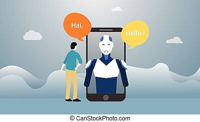 smartphone, płaski, robot, sztuczny, rozmowa, apps, wektor, ...