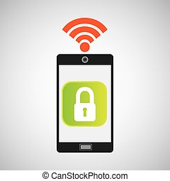 smartphone padlock internet wifi icon