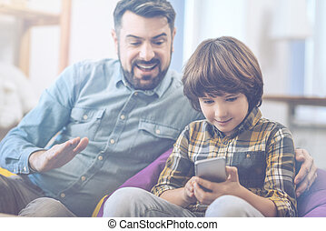 smartphone, pai, tocando, filho