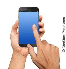 smartphone, pantalla grande, tenencia de la mano, blanco