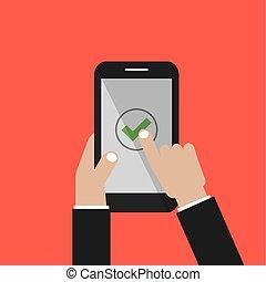 smartphone, pantalla, ilustración, marca, vector, cheque