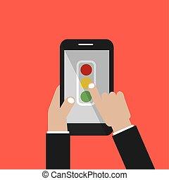 smartphone, pantalla, ilustración, señal, vector, tráfico, asimiento, mano