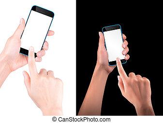 smartphone, pantalla, mano, negro, tenencia, blanco