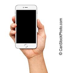 smartphone, pantalla, tenencia de la mano, blanco, blanco