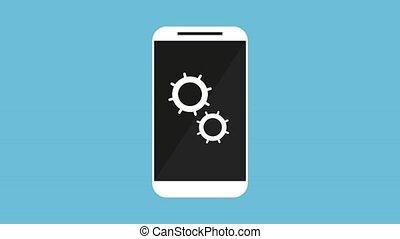smartphone, paramètres, main, animation, utilisateur, engrenages
