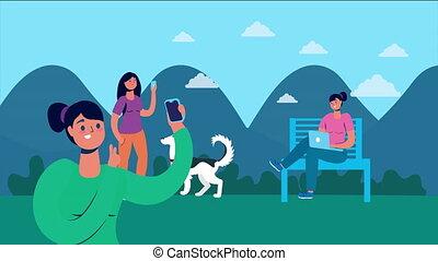 smartphone, parc, ordinateur portable, gens, utilisation
