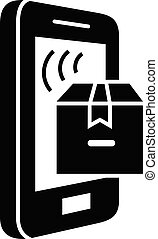 Smartphone parcel tracking icon, simple style - Smartphone ...