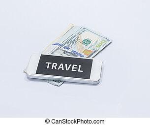 smartphone, parola, banconota, viaggiare, dollaro, ci, schermo