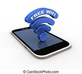 smartphone, parola, simbolo, wifi, libero, fili, 3d, icona