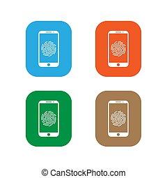 Smartphone password icon. Fingerprint icon set. Vector illustration, flat design.