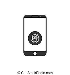 Smartphone password icon. Fingerprint icon. Vector illustration, flat design.