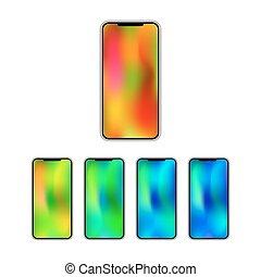 smartphone, pendenza, pieno, nuovo, trendy, touchscreen.